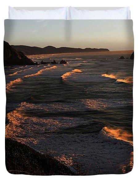 Oregon Coast At Sunset Duvet Cover by Jon Burch Photography