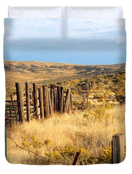 Oregon Corral Duvet Cover by Betty LaRue
