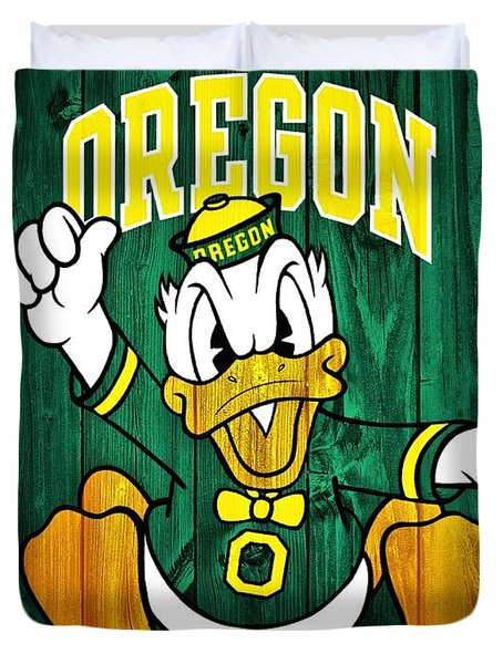 Oregon Ducks Barn Door Duvet Cover by Dan Sproul