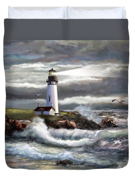 Oregon Lighthouse Beam of hope Duvet Cover by Gina Femrite