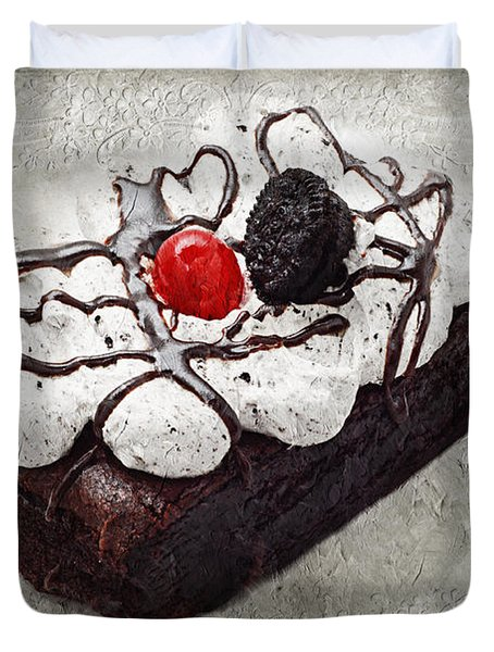Oreo Cherry Brownie Cake Duvet Cover by Andee Design