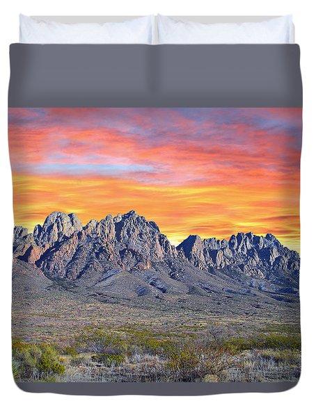 Organ Mountain Sunrise Duvet Cover by Jack Pumphrey