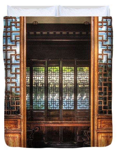 Orient - Door - The Temple Doors Duvet Cover by Mike Savad