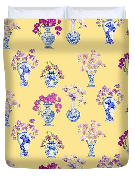 Oriental Vases With Orchids Duvet Cover by Kimberly McSparran