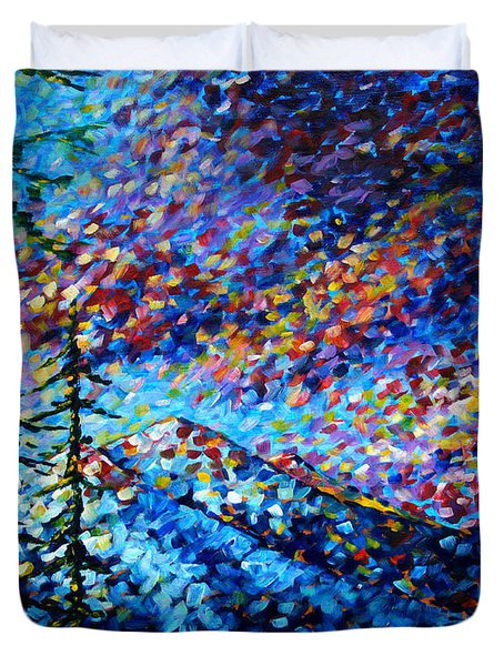 Original Abstract Impressionist Landscape Contemporary Art By Madart Mountain Glory Duvet Cover by Megan Duncanson