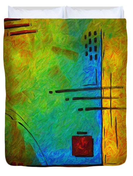 Original Abstract Painting Digital Conversion For Textured Effect Resonating IIi By Madart Duvet Cover by Megan Duncanson