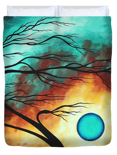 Original Bold Colorful Abstract Landscape Painting Family Joy I By Madart Duvet Cover by Megan Duncanson