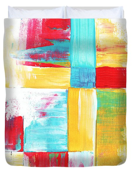 Original Bold Colorful Abstract Painting Patchwork By Madart Duvet Cover by Megan Duncanson