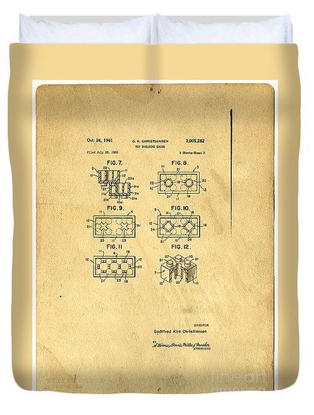 Original Patent For Lego Toy Building Brick Duvet Cover by Edward Fielding