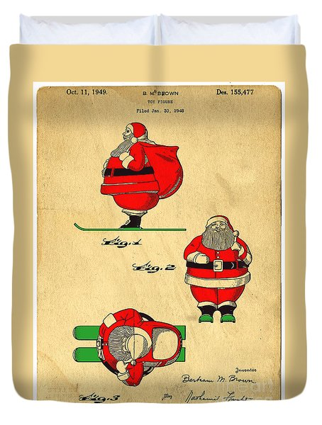 Original Patent For Santa On Skis Figure Duvet Cover by Edward Fielding