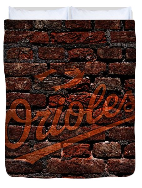 Orioles Baseball Graffiti on Brick  Duvet Cover by Movie Poster Prints
