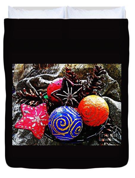 Ornaments 7 Duvet Cover by Sarah Loft