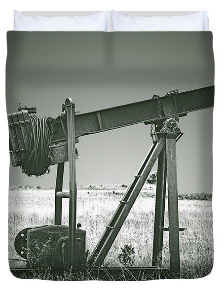 Orphans of the Texas Oil Fields Duvet Cover by Christine Till