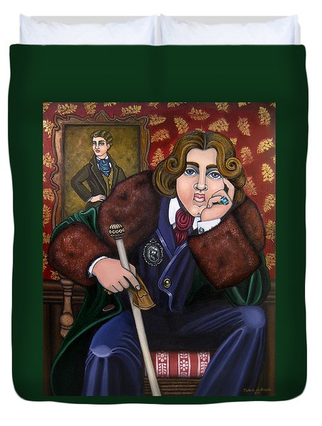Oscar Wilde And The Picture Of Dorian Gray Duvet Cover by Victoria De Almeida
