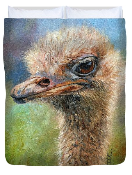 Ostrich Duvet Cover by David Stribbling