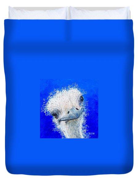 Ostrich Painting 'waldo' By Jan Matson Duvet Cover by Jan Matson