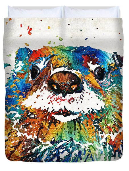 Otter Art - Ottertude - By Sharon Cummings Duvet Cover by Sharon Cummings