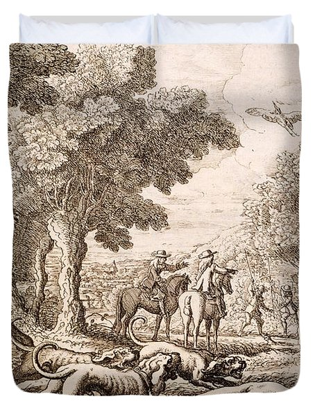 Otter Hunting By A River, Engraved Duvet Cover by Francis Barlow