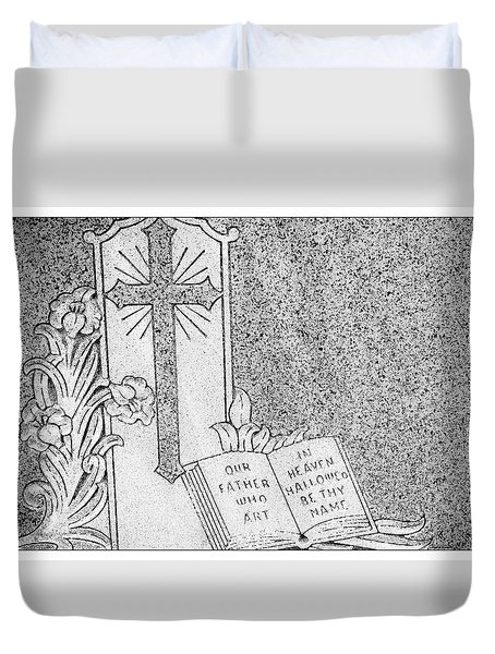 Our Father Who Art in Heaven Duvet Cover by Crystal Wightman