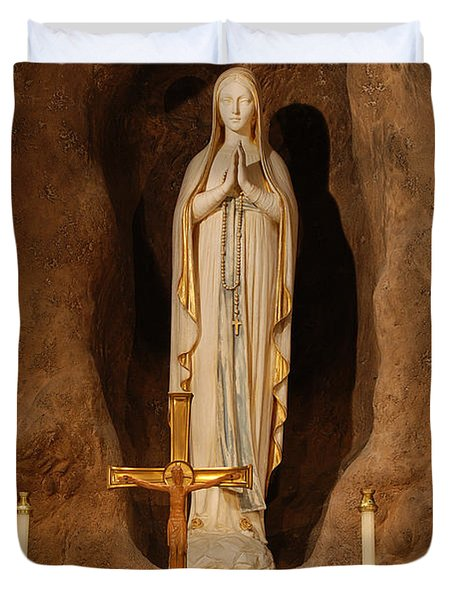 Our Lady Of Lourdes Duvet Cover by Philip Ralley