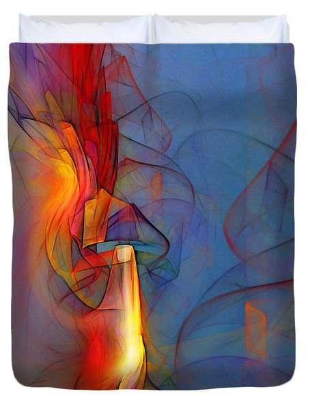 Out Of The Blue-abstract Art Duvet Cover by Karin Kuhlmann