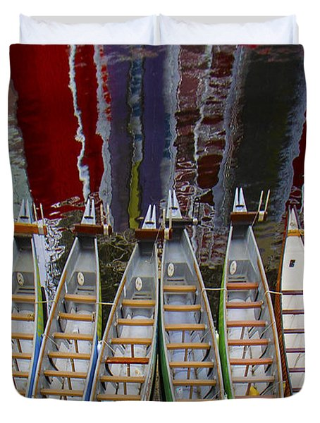 Outrigger Canoe Boats And Water Reflection Duvet Cover by Ben and Raisa Gertsberg