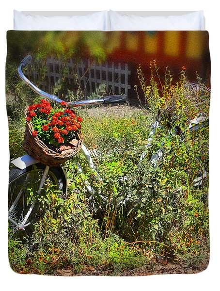 Overgrown Bicycle With Flowers Duvet Cover by Mike McGlothlen