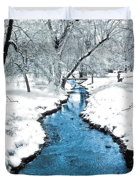 Overnight Snow In Edgemont Park Duvet Cover by Kellice Swaggerty