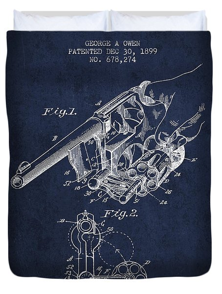 Owen Revolver Patent Drawing From 1899- Navy Blue Duvet Cover by Aged Pixel