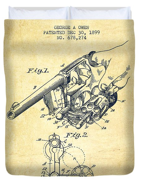 Owen Revolver Patent Drawing From 1899- Vintage Duvet Cover by Aged Pixel