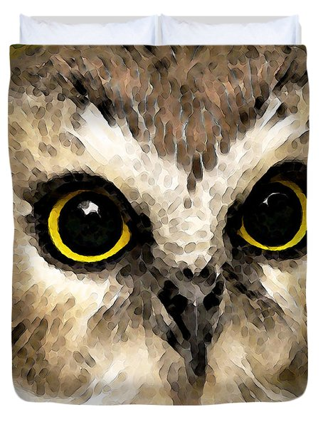 Owl Art - Night Vision Duvet Cover by Sharon Cummings