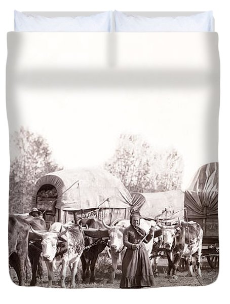 OX-DRIVEN WAGON FREIGHT TRAIN c. 1887 Duvet Cover by Daniel Hagerman