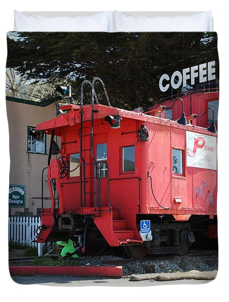 P Town Cafe Caboose Pacifica California 5D22659 Duvet Cover by Wingsdomain Art and Photography