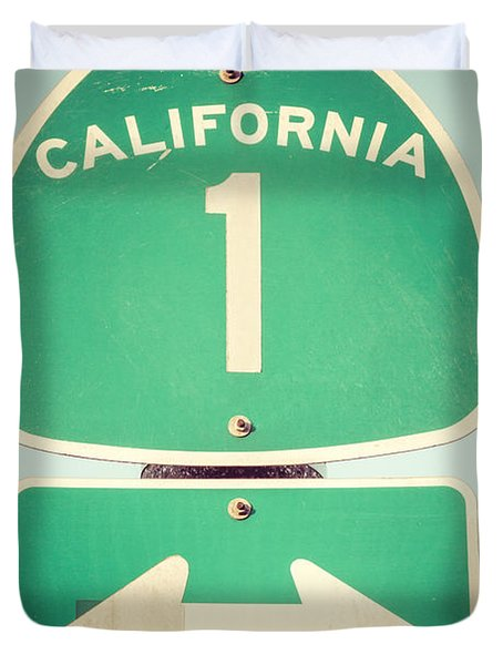 Pacific Coast Highway Sign California State Route 1 Duvet Cover by Paul Velgos