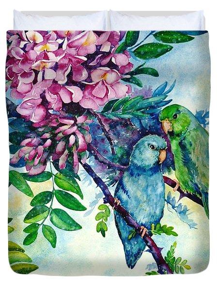 Pacific Parrotlets Duvet Cover by Zaira Dzhaubaeva