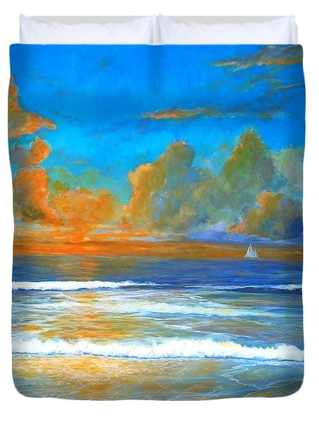 Pacific Reflections Duvet Cover by Keith Wilkie