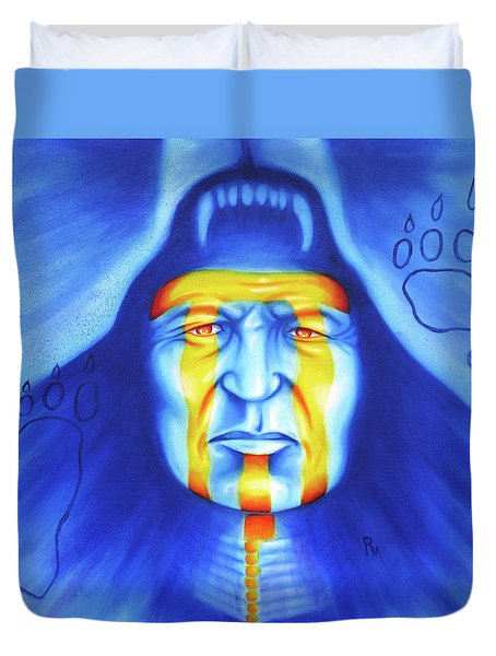 Painted Bear Duvet Cover by Robert Martinez