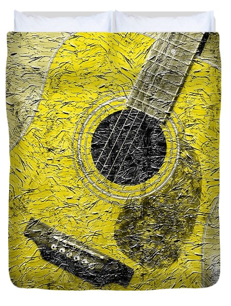 Painted Guitar - Music - Yellow Duvet Cover by Barbara Griffin