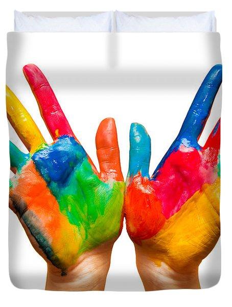 Painted Hands On White Duvet Cover by Michal Bednarek