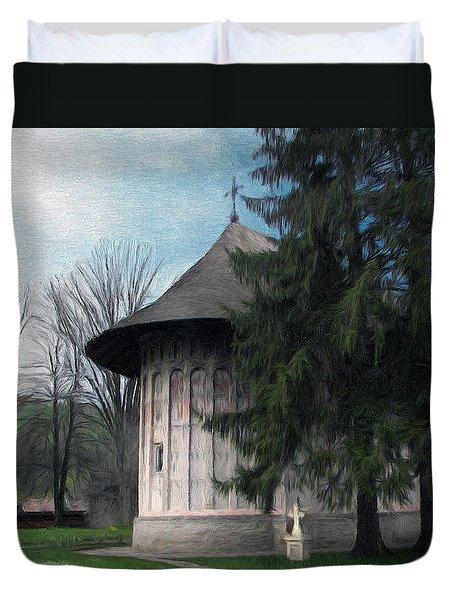 Painted Monastery Duvet Cover by Jeff Kolker