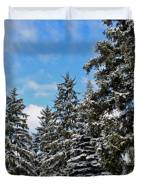 Painted Pines Duvet Cover by Frozen in Time Fine Art Photography