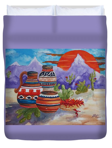 Painted Pots And Chili Peppers Duvet Cover by Ellen Levinson