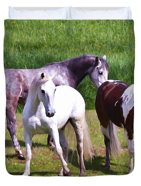 Painted Pretty Horses Duvet Cover by Athena Mckinzie