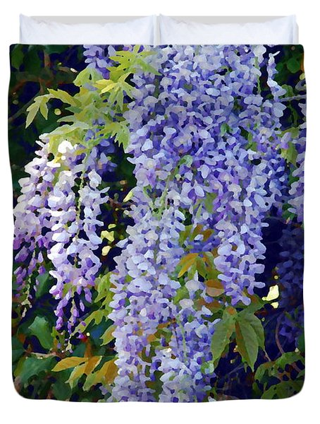 Painted Wisteria  Duvet Cover by Francie Davis