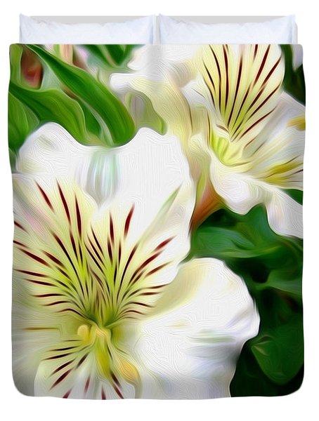 Painterly Alstroemeria Duvet Cover by Kaye Menner