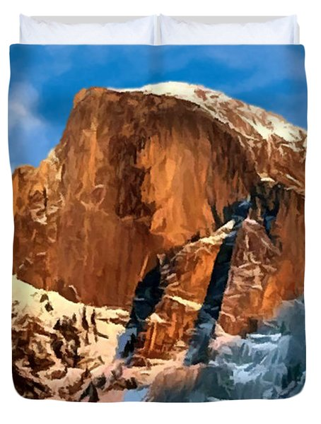 Painting Half Dome Yosemite N P Duvet Cover by  Bob and Nadine Johnston