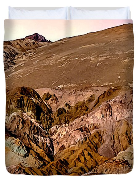 Painting Of Artists Pallete Death Valley Duvet Cover by Bob and Nadine Johnston