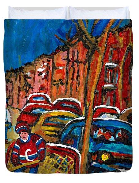 Paintings Of Montreal Hockey City Scenes Duvet Cover by Carole Spandau