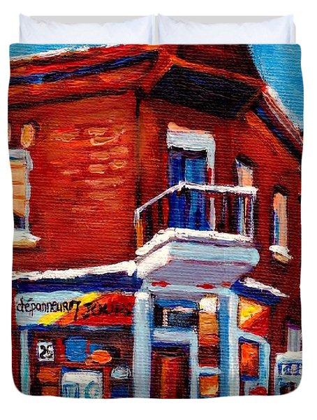 Paintings Of Verdun Depanneur 7 Jours Montreal Winter Street Scenes By Carole Spandau Duvet Cover by Carole Spandau