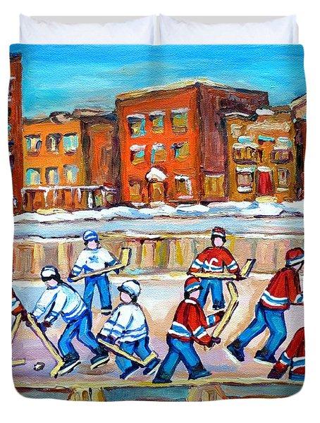 Paintings  Verdun Rink Hockey Montreal Memories Canadiens And Maple Leaf Hockey Game Carole Spandau Duvet Cover by Carole Spandau